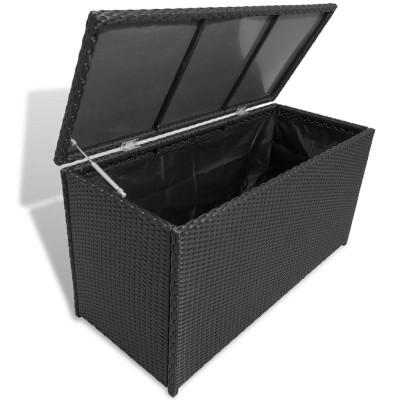 Caisse de stockage de jardin Rotin synthétique Noir