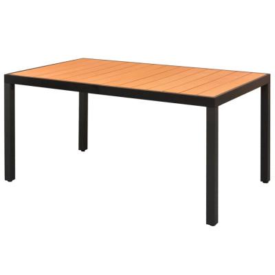 Table à manger de jardin WPC Aluminium Marron 150 x 90 x 74 cm