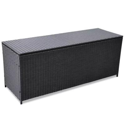 Boîte de rangement d'extérieur Résine tressée Noir 150x50x60 cm