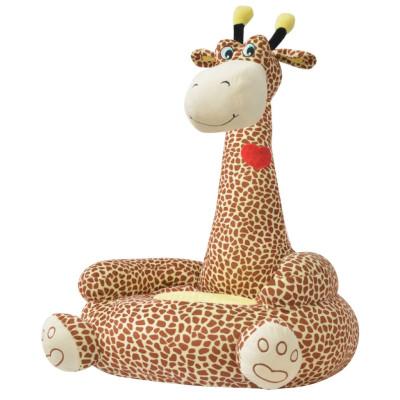 Chaise en peluche pour enfants Girafe Marron
