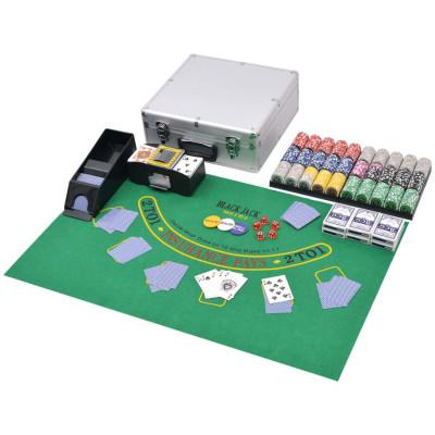 Jeu de Poker/Blackjack mixte avec 600 jetons Laser Aluminium