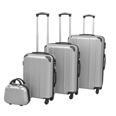 Ensemble de valises à roulettes quatre pièces Argenté