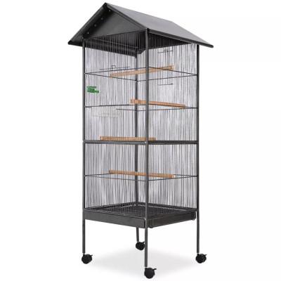 Cage à oiseaux avec toit Acier Noir 66 x 66 x 155 cm