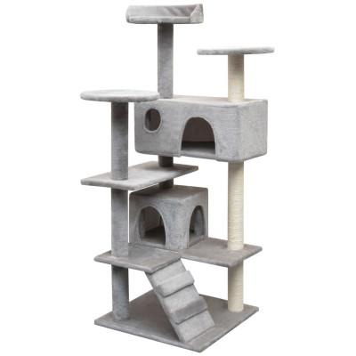 Arbre à chat avec griffoirs en sisal 125 cm Gris