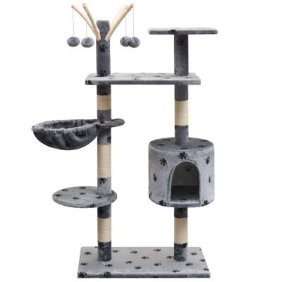 Arbre à chat et griffoir Sisal 125 cm Empreintes de pattes Gris
