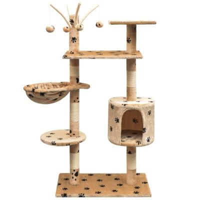 Arbre à chat et griffoir Sisal 125 cm Empreintes de pattes Beige