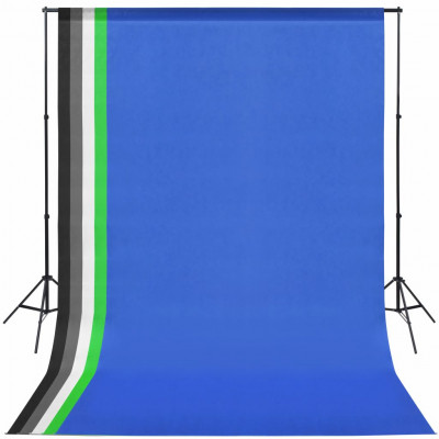 Kit de studio avec 5 toiles de fond colorées et cadre réglable