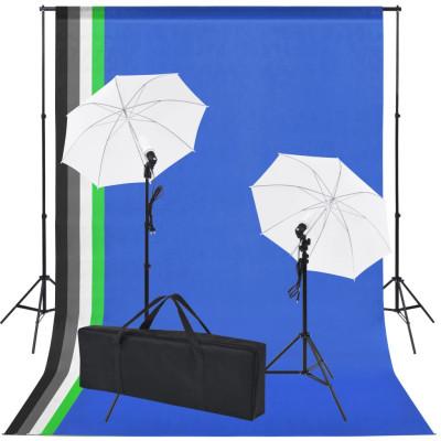 Kit de studio photo 5 toiles de fond colorées et 2 ombrelles