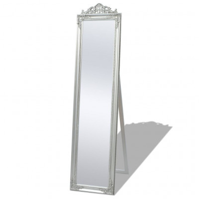 Miroir sur pied Style baroque 160 x 40 cm Argenté