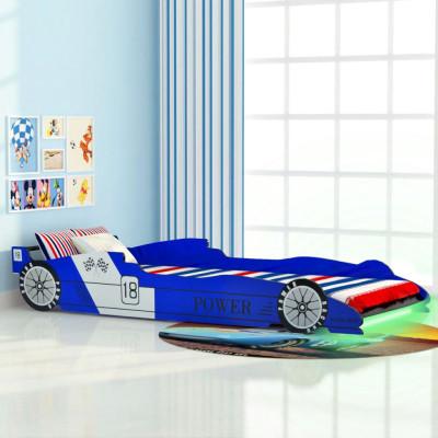 Lit voiture de course pour enfants avec LED 90 x 200 cm Bleu