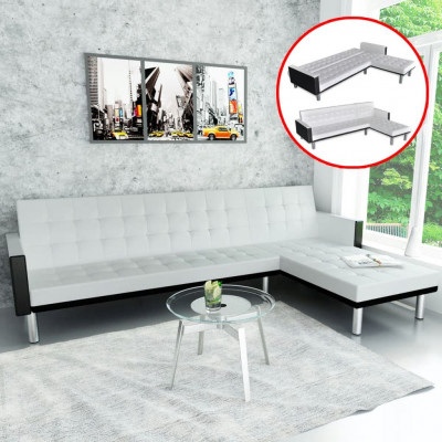 Canapé-lit d'angle Cuir synthétique Blanc