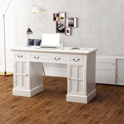 Bureau à double piédestal Blanc 140 x 48 x 80 cm