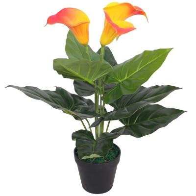 Plante artificielle avec pot Lis Calla 45 cm Rouge et Jaune