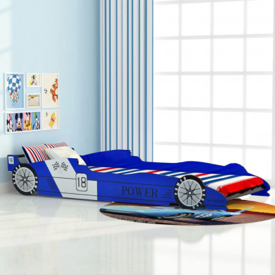 Lit voiture de course pour enfants 90 x 200 cm Bleu