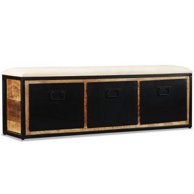 Banc de rangement avec 3 tiroirs Bois de manguier 120x30x40 cm