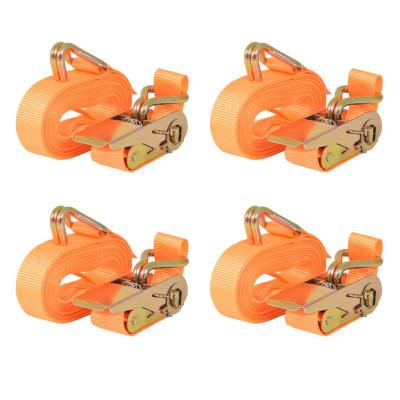 Sangle d'arrimage à cliquet 4 pcs 0,8 tonne 6 m x 25 mm Orange