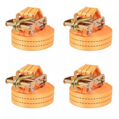 Sangle d'arrimage à cliquet 4 pcs 2 tonnes 6 m x 38 mm Orange