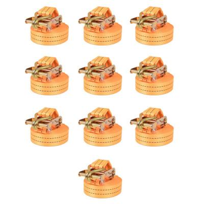 Sangle d'arrimage à cliquet 10 pcs 2 tonnes 6 m x 38 mm Orange