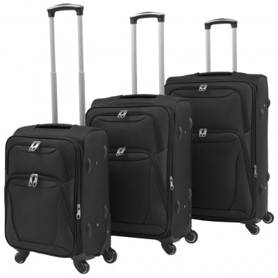 Ensemble de valises souples 3 pcs Noir