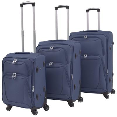Jeu de valises souples 3 pcs Bleu marine