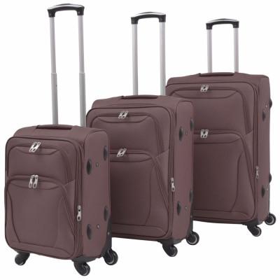 Jeu de valises souples 3 pcs Couleur de café