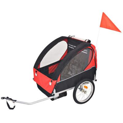 Remorque de vélo pour enfants rouge et noire 30 kg