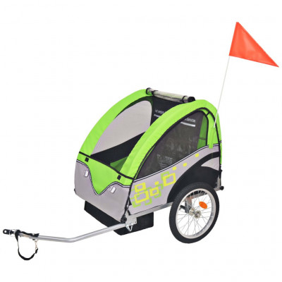 Remorque de vélo pour enfants Gris et vert 30 kg