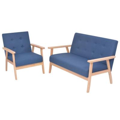 Ensemble de canapé 2 pcs Tissu bleu