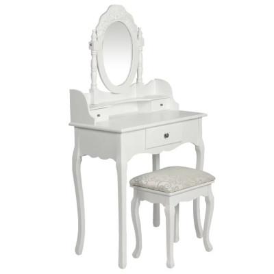Coiffeuse avec miroir et tabouret Blanc