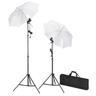 Kit de studio photo avec lampes pieds et parapluies