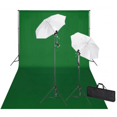 Kit Photo 2 Flashes + trépieds 2 Parapluies Fond Vert