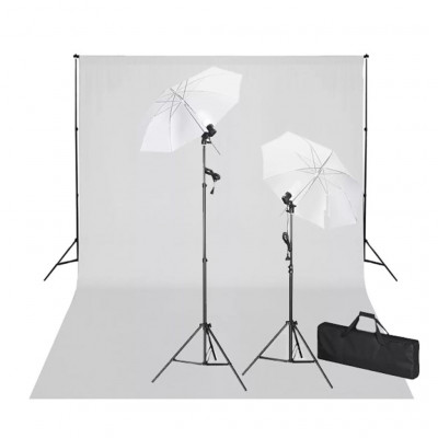 Kit Photo 2 Flashes + trépieds 2 Parapluies Fond Blanc