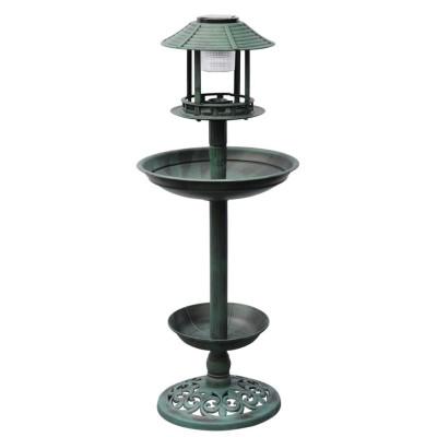 Fontaine bain d'oiseaux verte avec lampe solaire