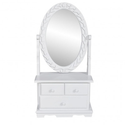 Coiffeuse avec miroir pivotant ovale MDF