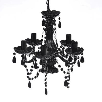 Lustre avec 5 ampoules Crystal noir