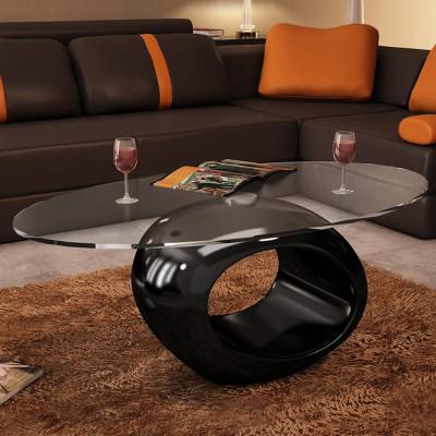 Table basse avec dessus de table en verre ovale Noir brillant