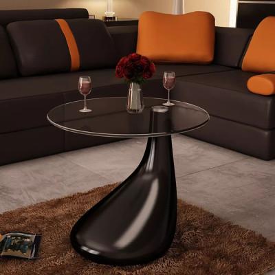 Table basse avec dessus de table en verre rond Noir brillant