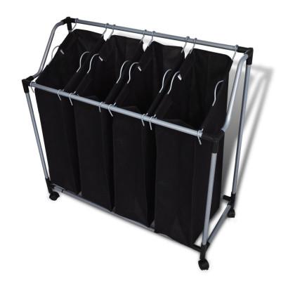 Chariot à linge avec 4 sacs à linge noir gris