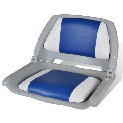 Siège pliant pour bateau avec coussin bleu et blanc 41 x 51 x 48 cm