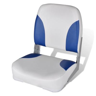 Siège pliant pour bateau avec coussin bleu et blanc 41 x 36 x 48 cm