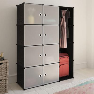Armoire modulaire 9 compartiments Noir et blanc 37 x 115x150 cm