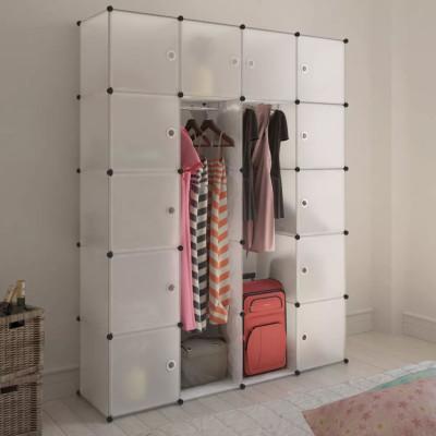 Cabinet modulable avec 14 compartiments blanc 37x146x180,5 cm