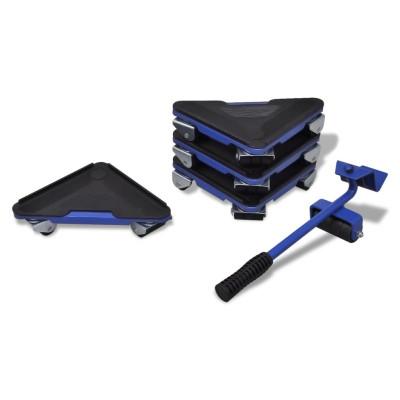 Kit de déplacement de meuble 1 levier et 4 coins roulants