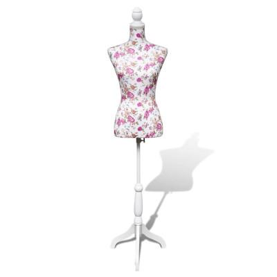 Buste de couture de femme en coton blanc motifs à rosiers