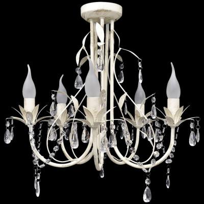 Lustre en cristal transparent plafonnier 5 feux lampe luminaire