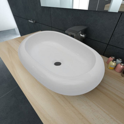 Lavabo en forme ovale Céramique 63 x 42 cm Blanc