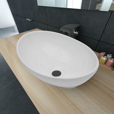 Lavabo en forme ovale Céramique 40 x 33 cm Blanc