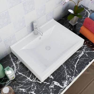 Vasque à poser en céramique Rectangulaire Blanche 60 x 46 cm