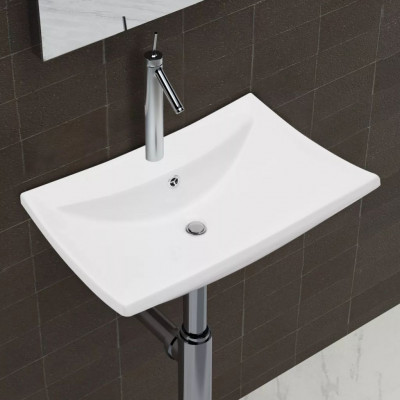 Luxueuse vasque céramique rectangulaire avec trop plein