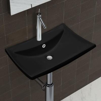 Lavabo rectangulaire en céramique noir de luxe avec trop-plein et trou